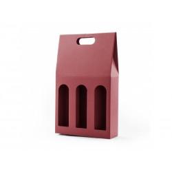 Krabice na 3 vína hladká mikrovlna červená
