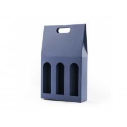 Krabice na 3 vína hladká mikrovlna modrá