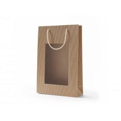 Papírová taška RAF přírodní otevřená vlnitá lepenka s oknem