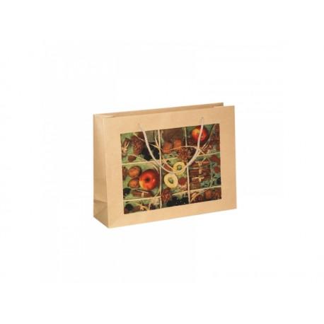 Vánoční papírová taška COUNTRY přírodní s potiskem JABLKO