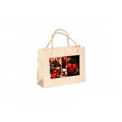 Vánoční papírová taška MACEDONIA béžová s potiskem SKOŘICE