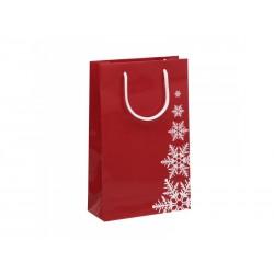 Vánoční papírová taška RAF červená s potiskem VLOČKA