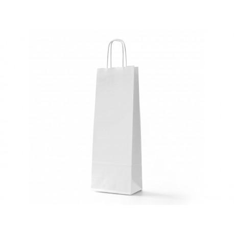 Strojní papírová taška VÍNO sulfát bílá s twistrovým uchem