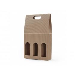 Krabice na 3 vína otevřená vlnitá lepenka přírodní