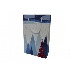 Vánoční papírová taška RAF bílá s potiskem LES