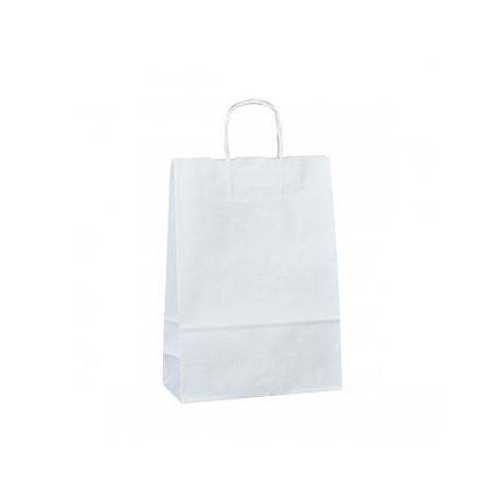 Strojní bílá papírová taška Twister 23x10x33 s krouceným uchem