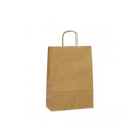 Strojní hnědá papírová taška Twister 23x10x33 s krouceným uchem