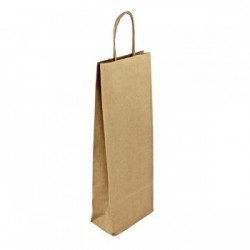 Strojní hnědá taška Mosela na víno 14x8x39 s krouceným uchem