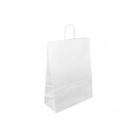 Strojní bílá papírová taška Extratwist 32x12x40 s krouceným uchem