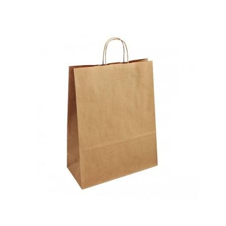 Strojní hnědá papírová taška Extratwist 32x12x40 s krouceným uchem